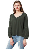 Lace Dress Long Sleeves Casual V Neck Tops & Tees