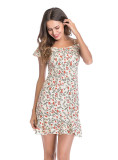 Plus Size Dresses Suspenders Floral High Waisted Summer For Women