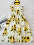 2020 Summer New Fashion Tight Waist Sunflower Print Midr Dress