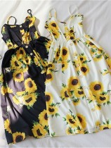 2020 Summer New Fashion Tight Waist Sunflower Print Midr Dress