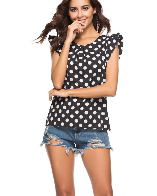Summer Chiffon Ruffled Polka Dot Short Sleeve Shirt