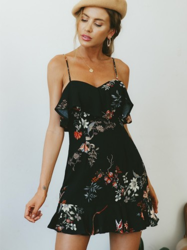 Summer Hot Sale Chiffon Sexy Print Slip One Piece Dress