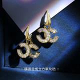 Fashion double-C Earrings small fragrance Zircon Earrings Korean version exquisite cool light wind Earrings buckle letter earrings earrings earrings