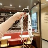 Girl's sweet headband black letter long ribbon with pearl hair ring hair rope nail bead towel ring