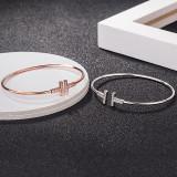 Sterling Silver double t open Bracelet letter net red same t family diamond bracelet plated with 18K Rose Gold
