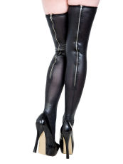 zipper Black leather leggings