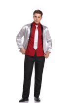 Tie, coat, red shirt, trousers