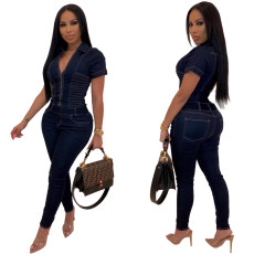 Sexy V-collar short-sleeved jeans JUMPSUIT