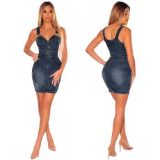 Sleeveless slim Jeans Dress