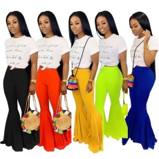 Candy colour invisible zipper bell trousers 5 colours