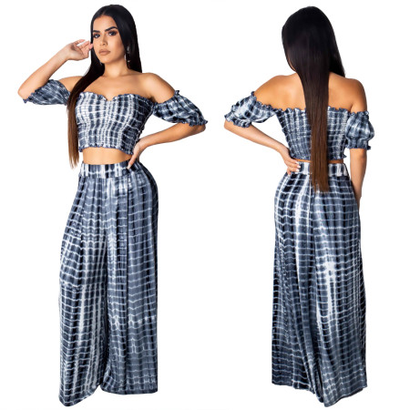 Sexy Gradient Printed Wide-legged Pants Two-piece Set