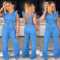 Summer Jeans Flared Sleeve Loose-back Jumpsuit