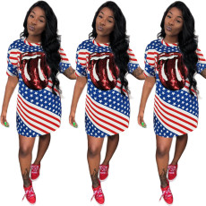 Flag printed sequined dress with big tongue