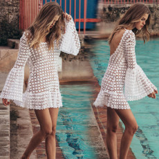 Sexy long-sleeved beach dress with round collar