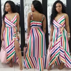 Fashionable sexy printed irregular Sling Dress