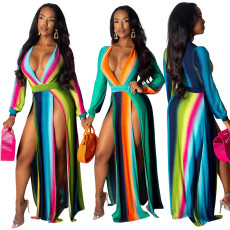 Sexy V-neck split gradient dress