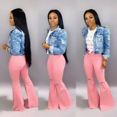 Bell jeans with high waist and holes
