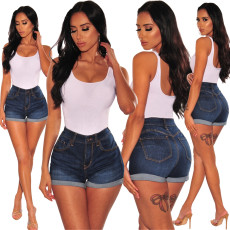 High-waist Recreational Washing for Old Women's Jeans Shorts
