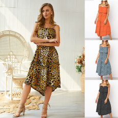 Four-color leopard ripple point sling with irregular straps dress