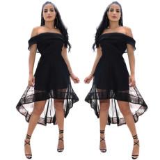Mesh stitching shoulder dress
