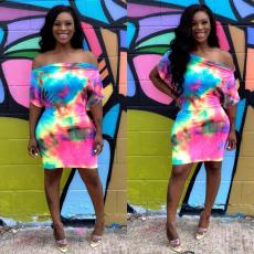 Tie-dyed shoulder Mini Dress