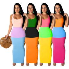 Sexy solid color 3-color spliced dress