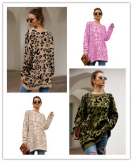 Four-color long-sleeve loose leopard print knitted shirt
