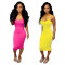 Pure colour suspender dress