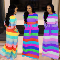 Lovely Sexy Loose Leisure Rainbow Stripe Dress