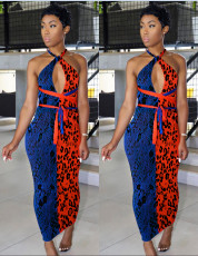 Leopard-print red-blue spliced dress
