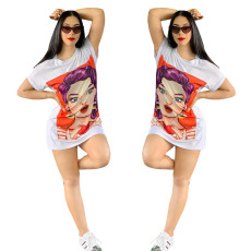 Long T-shirt skirt in fashion printing