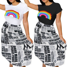 Newspaper pleated skirt short sleeve two-pieces sets