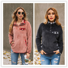 Autumn and Winter Fashion Lattice Stitching Women's Tops