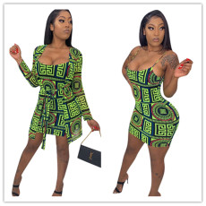 Printed jacket and dress two-pieces sets