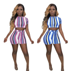 Stripe Printing Two-piece Set for Leisure