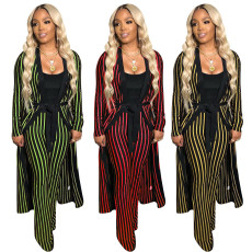 Stripe pants suit two-piece suit (no vest)