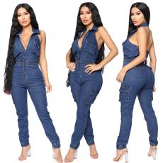 Fashionable casual sleeveless jeans