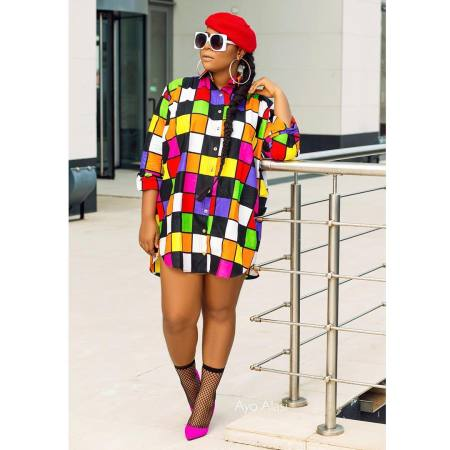 Fashionable colorful chequered shirt, loose sunscreen dress