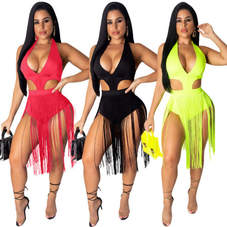 Pure fringed hollow Jumpsuit nightclub