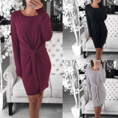 Long-sleeved dress with round collar