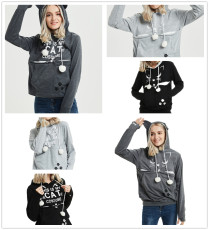 Big pocket letters printed cat-dog kangaroo Hoodie
