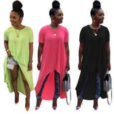 Short sleeve dress with irregular hem in pure color