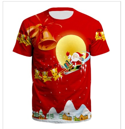 Christmas 3D Digital Printing Simple Couple T-shirt