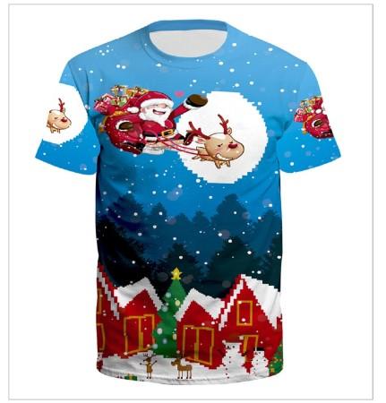 Christmas 3D Digital Printing Simple Couple T-shirt