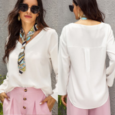 Fashionable pure color shirt with small silk scarf
