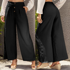 Broad-legged trousers, high-waisted trousers