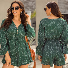 Wavelet dot printing Bell Sleeve Jumpsuits
