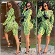 Tight green snakeskin digital printed Jumpsuits