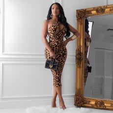 Leopard Print Long Sleeve irregular sleeveless dress