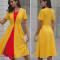 Coloured irregular collar fold dress